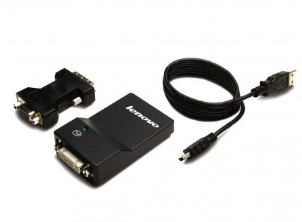 Lenovo USB 3.0 to DVI/VGA Monitor Adapter - Adapter - Digital / Daten, Digital / Display / Video Adapter & Kabel 0,7 m - Schwarz