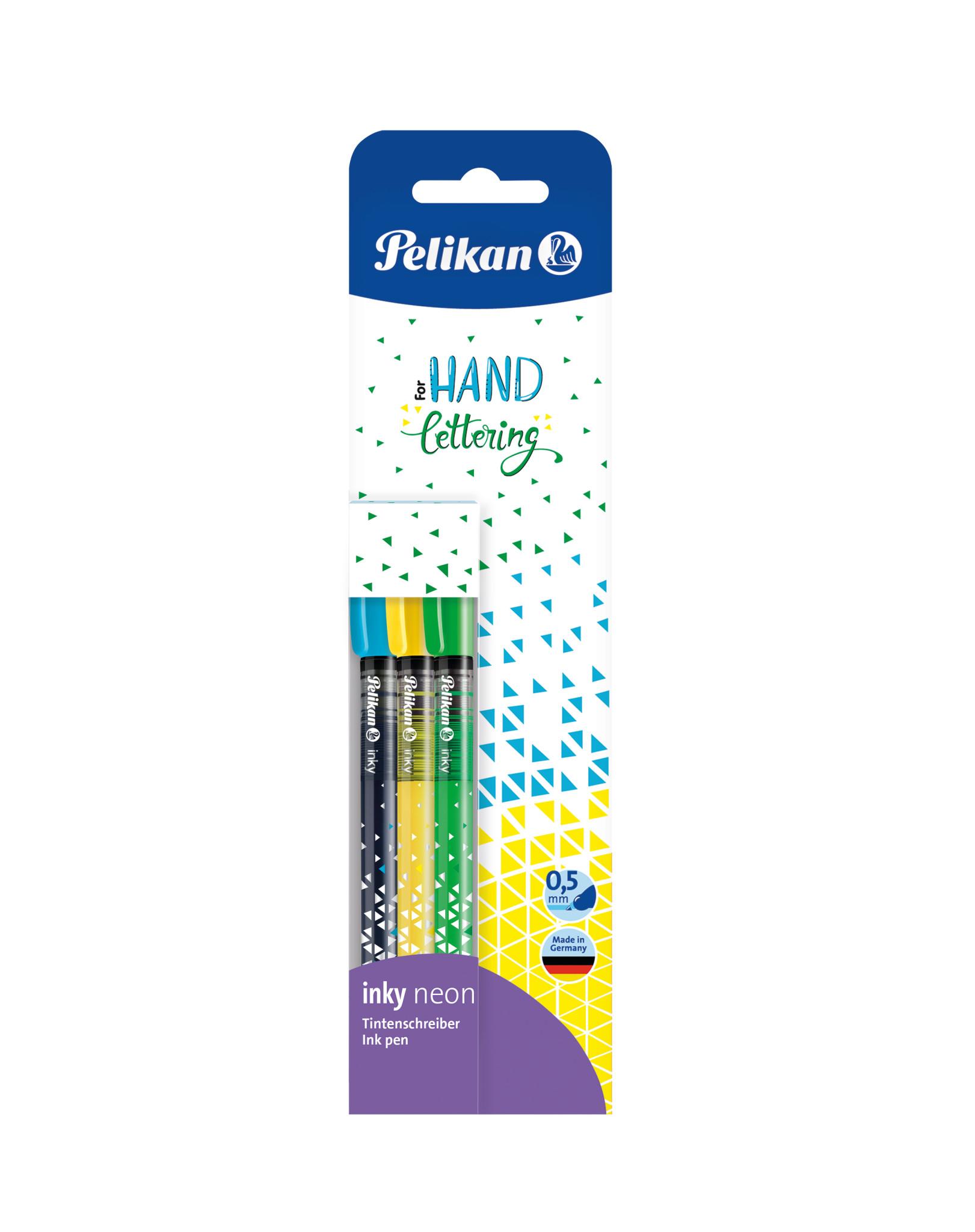 Vorschau: Pelikan inky Neon - Blau - Grün - Gelb - Fein - Rund - 0,5 mm - Deutschland - Sichtverpackung