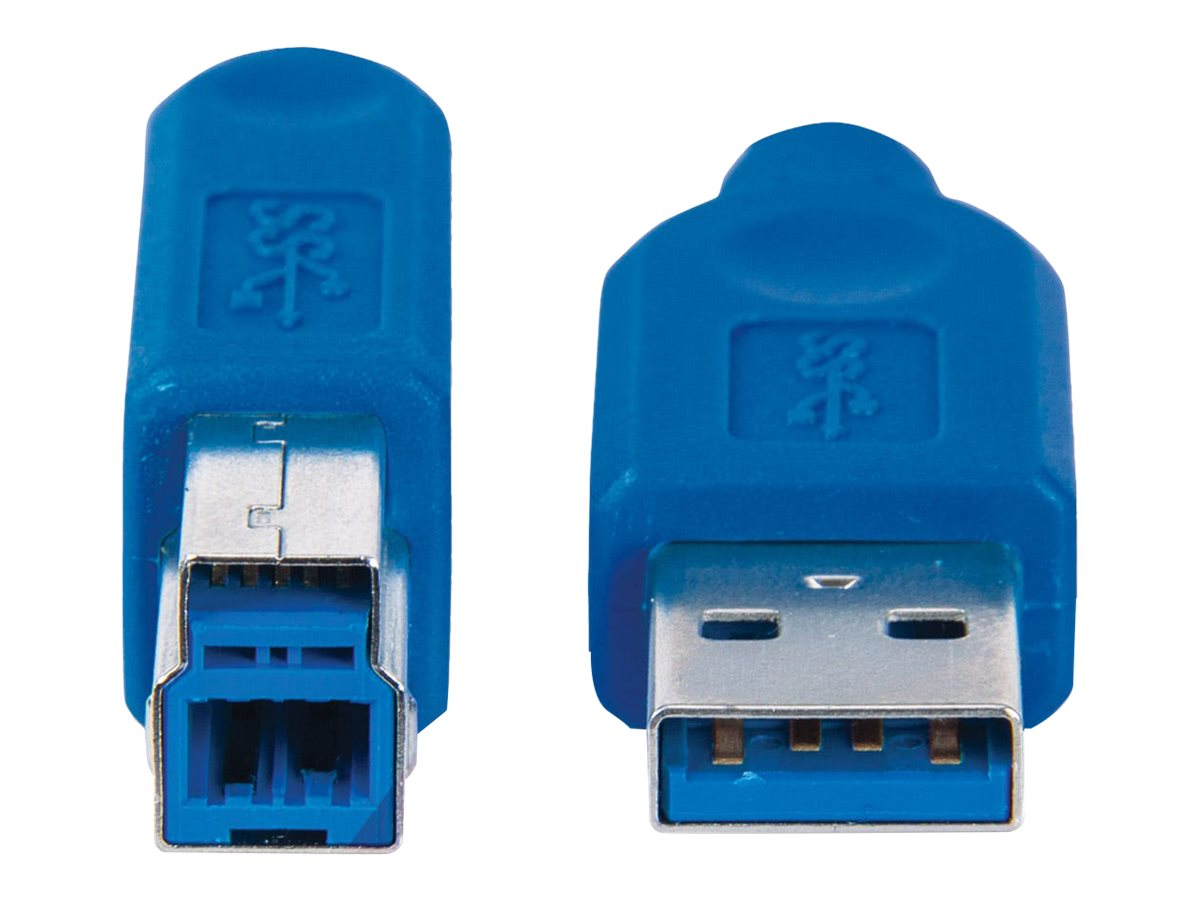 Manhattan SuperSpeed USB-B Anschlusskabel, USB 3.0, Typ A Stecker - Typ B SuperSpeed Stecker, 5 Gbps, 2 m, blau - USB-Kabel - USB Typ A (M)