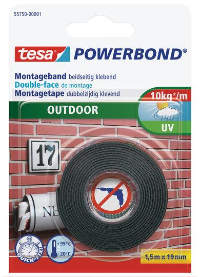 Tesa 55750 - Montageband - Schwarz - 1,5 m - Outdoor - Mauerziegel - Metall - Kunststoff - Stein - 0,1 kg/cm