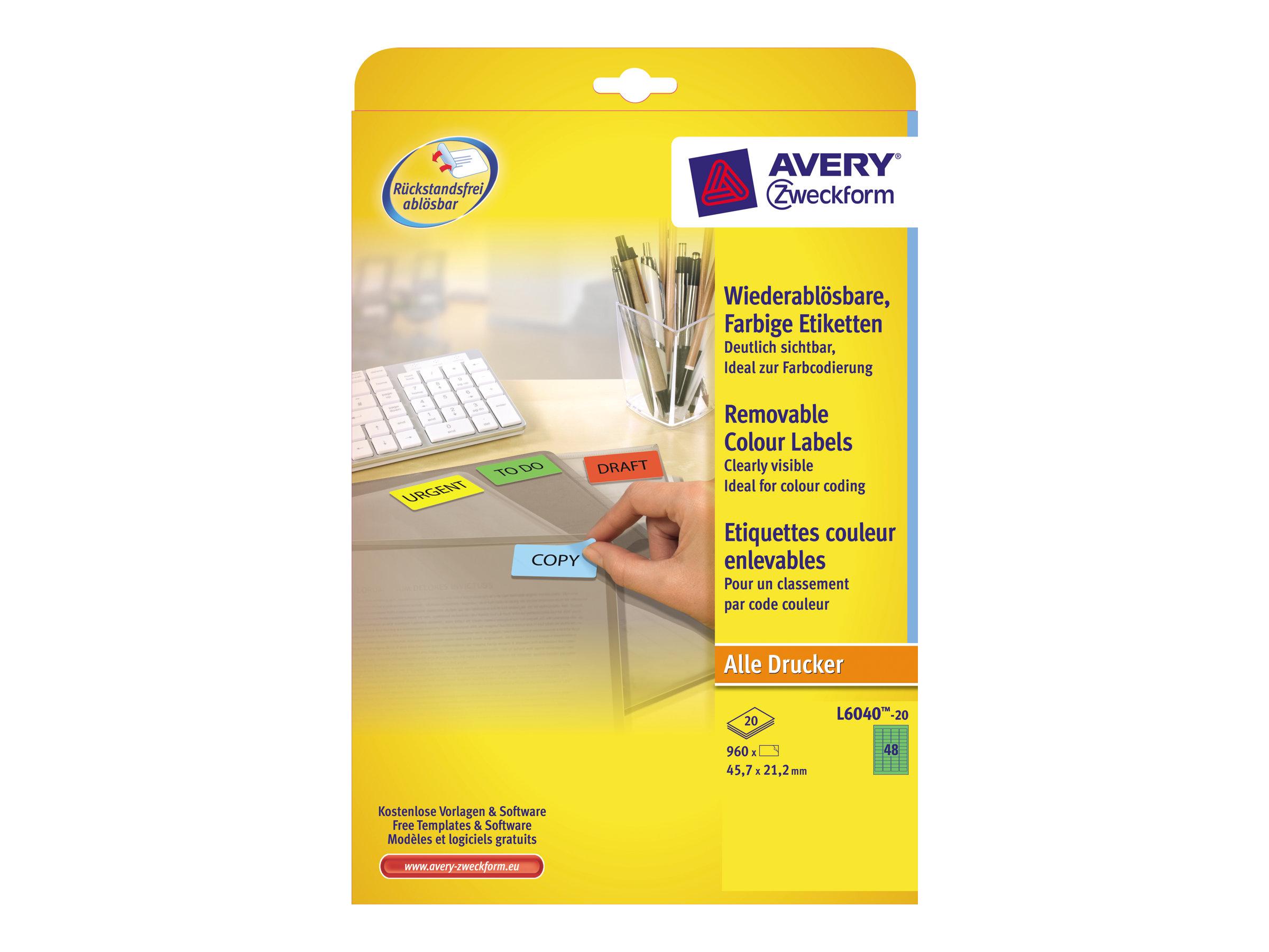 Avery Zweckform L6040 - Grün - 21.2 x 45.7 mm 960 Stck. (20 Bogen x 48) Etiketten