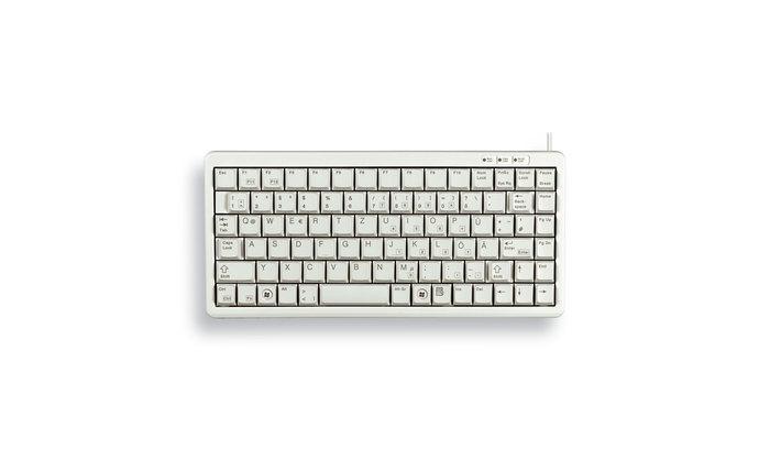 Cherry Slim Line Compact-Keyboard G84-4100 - Tastatur - Laser - 86 Tasten QWERTZ - Grau