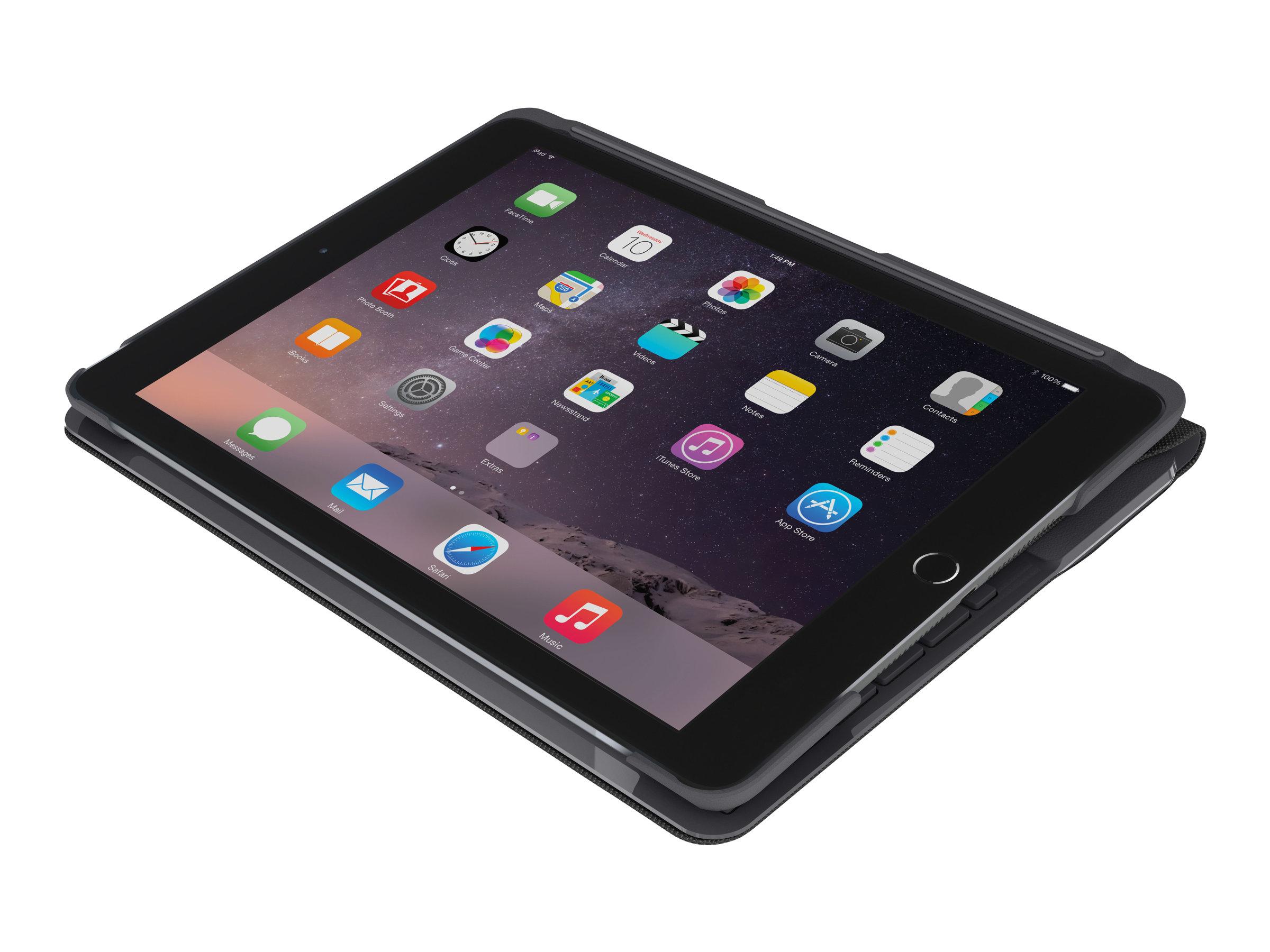 Logitech Slim Folio - Tastatur und Foliohülle - Bluetooth - UK Englisch - Schwarz - für Apple 9.7-inch iPad (5. Generation, 6. Generation)
