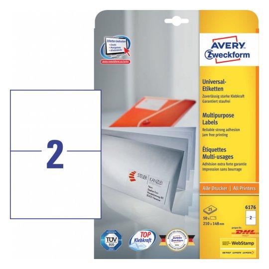 Avery Zweckform 6176 selbstklebendes Etikett Weiß Rechteck Dauerhaft 50 Stück(e)