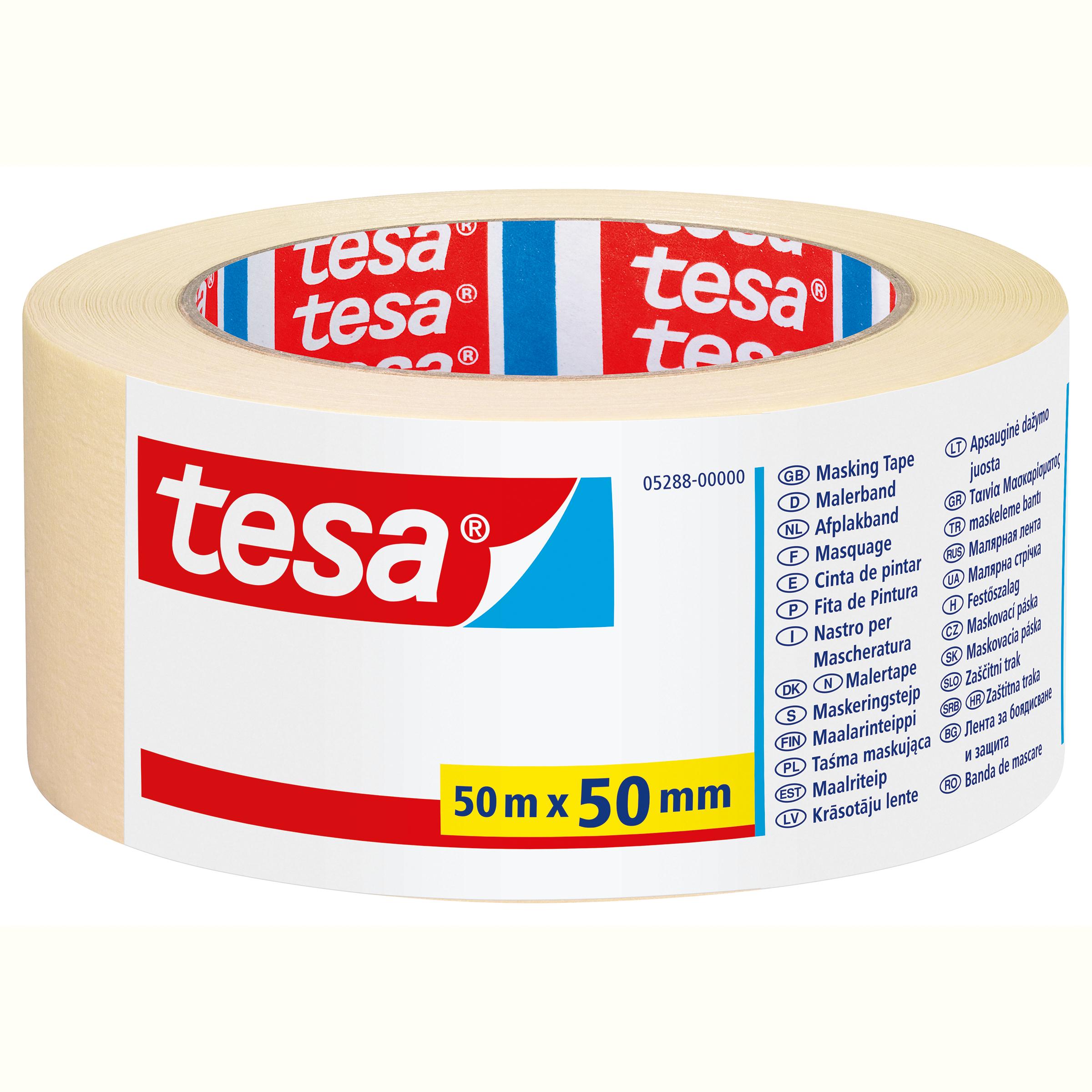 Tesa 05288 - Maler-Abdeckband - Papier - Beige - 4 Tag(e) - 50 m - 50 mm