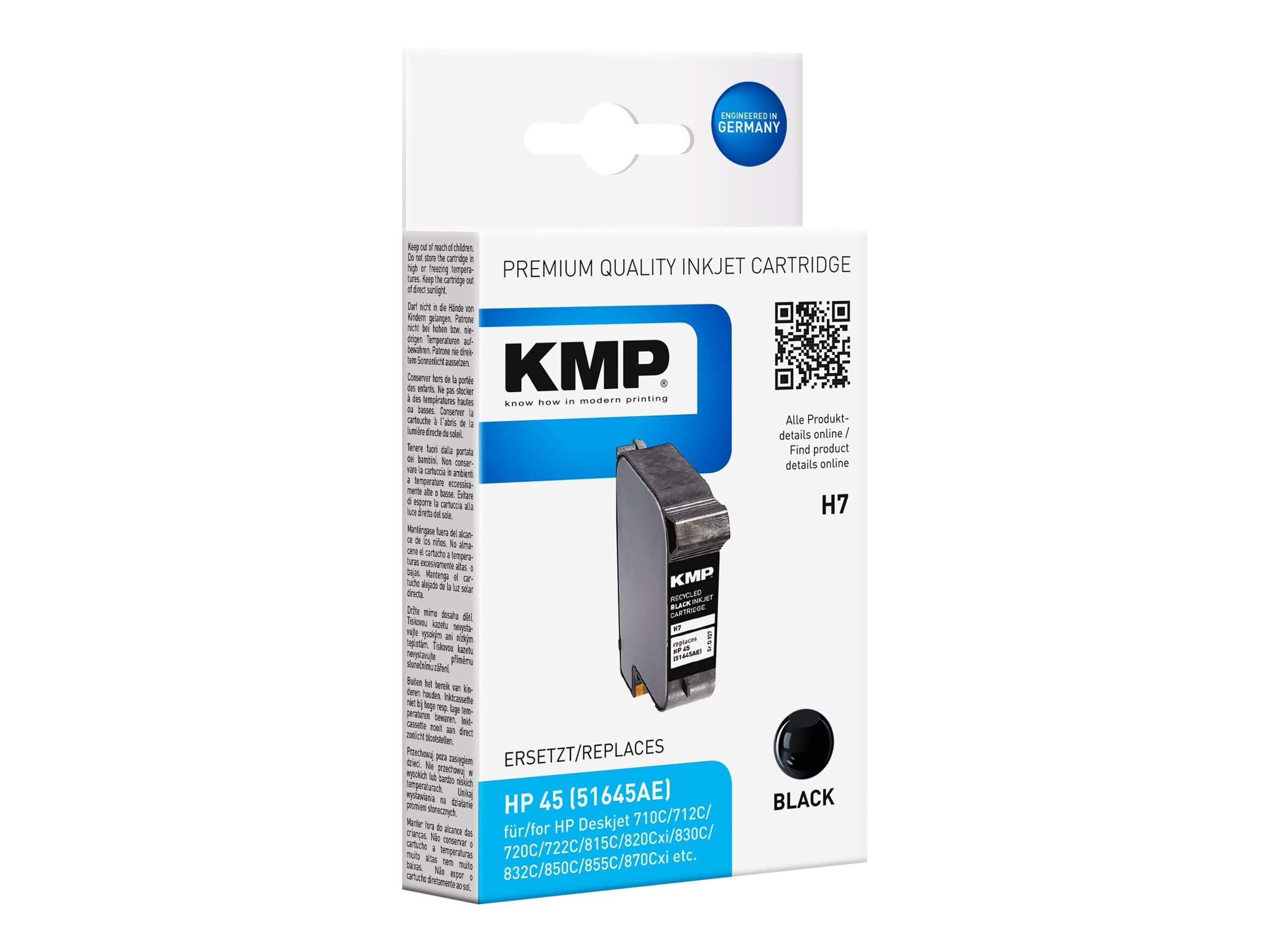KMP H7 - 42 ml - Schwarz - compatible - Tintenpatrone