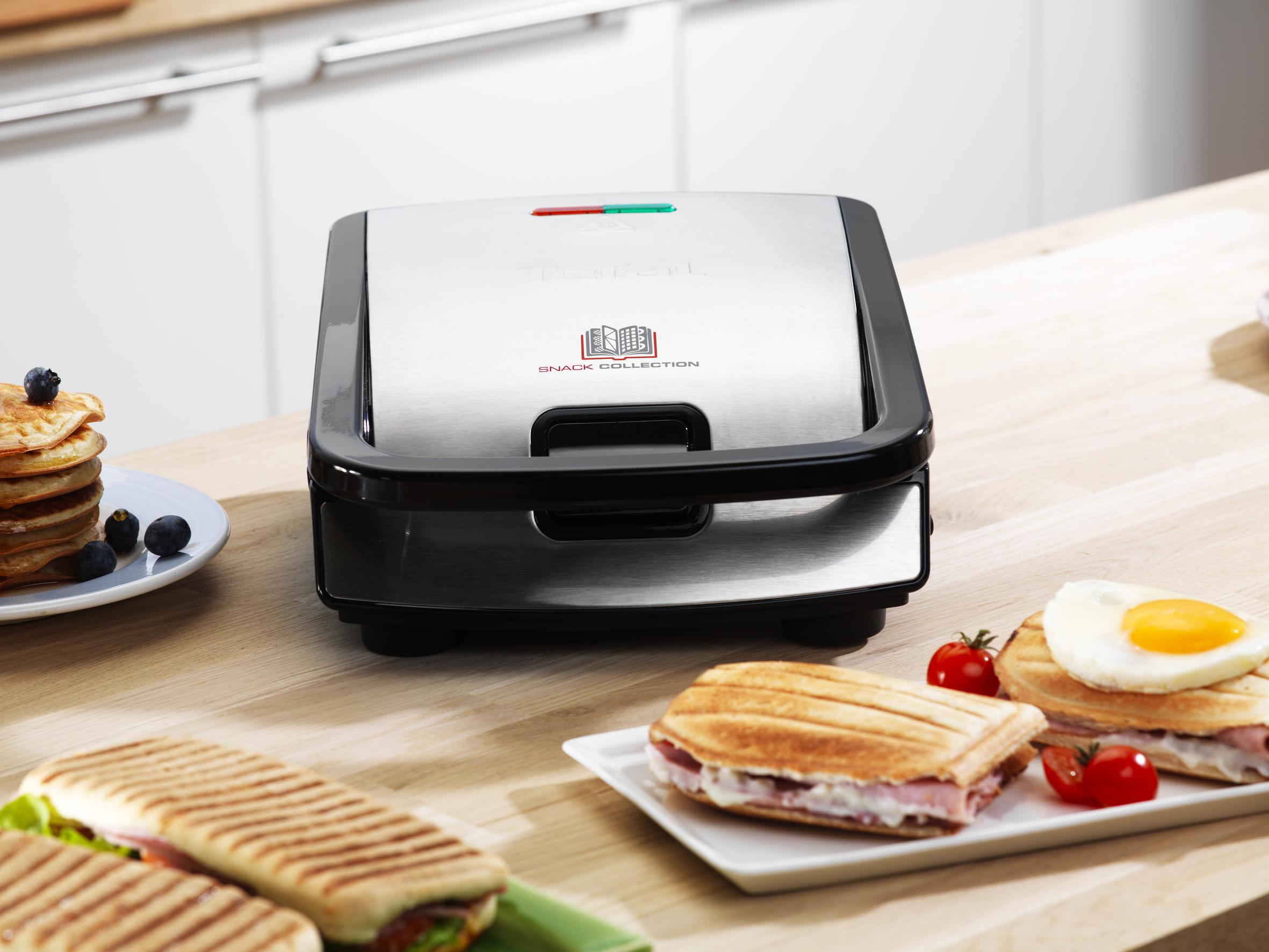 TEFAL-Snack-collection-Sandwich-maker-waffle-maker-700-W-black-stainle-SW852D miniatura 5