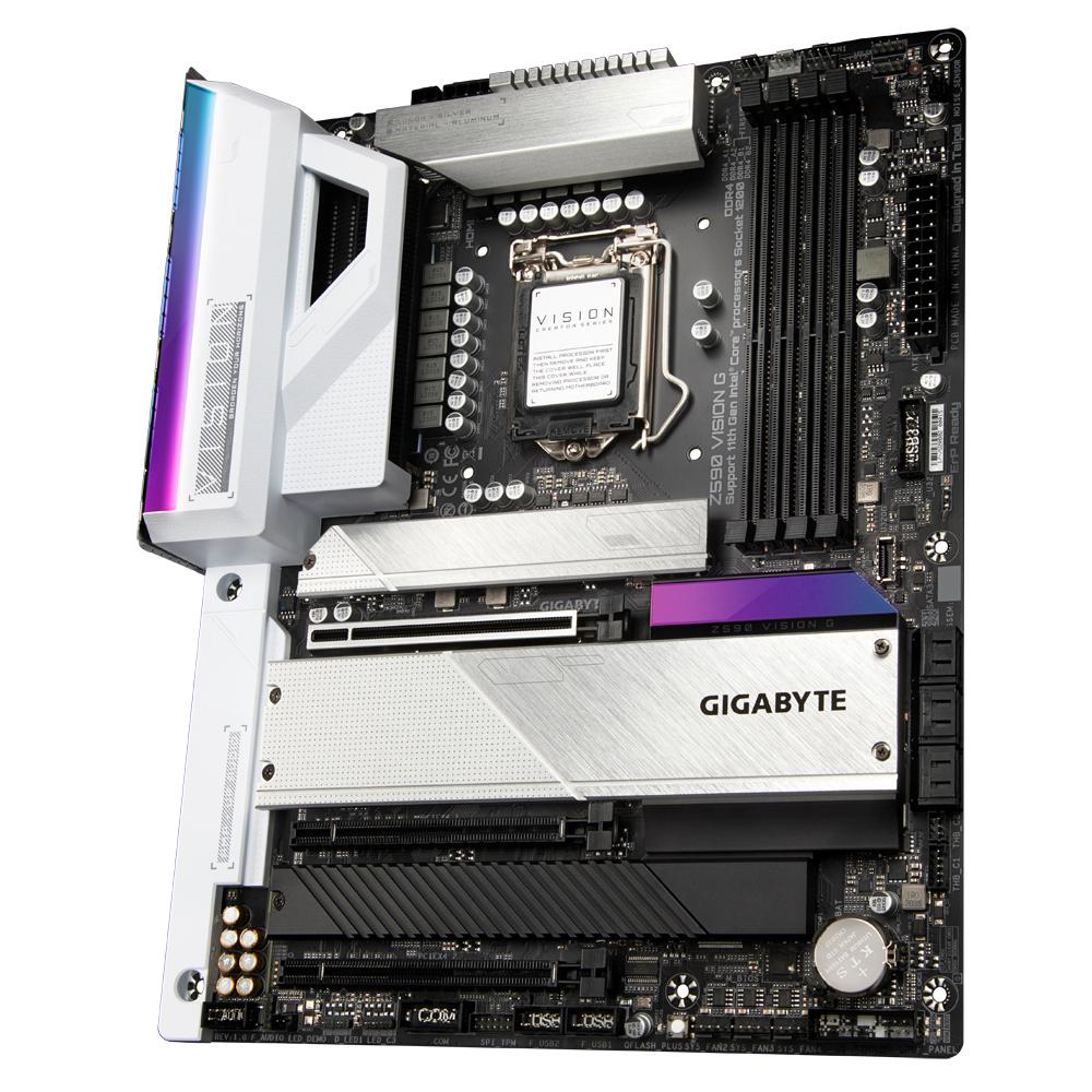 Gigabyte Z590 VISION G - Intel - LGA 1200 - Intel® Celeron® - Intel® Core™ i3 - Intel Core i5 - Intel Core i7 - Intel Core i9 - Intel® Pentium® - LGA 1200 (Socket H5) - DDR4-SDRAM - DIMM