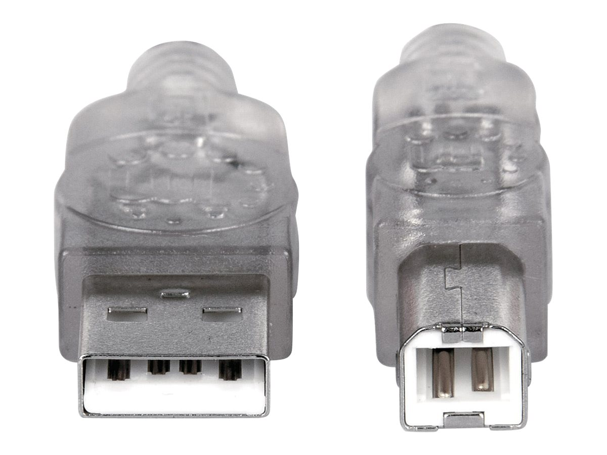 IC Intracom Manhattan USB-A to USB-B Cable, 3m, Male to Male, Translucent Silver, 480 Mbps (USB 2.0)