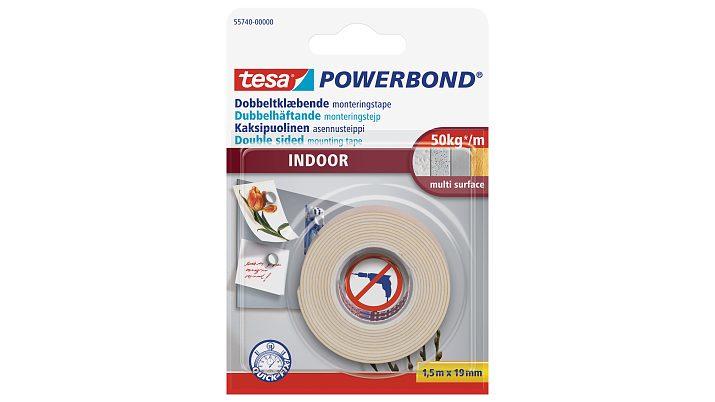 Tesa Powerbond INDOOR - Montageband - Weiß - 1,5 m - Indoor - Putz - Kunststoff - Holz - 5 kg/cm