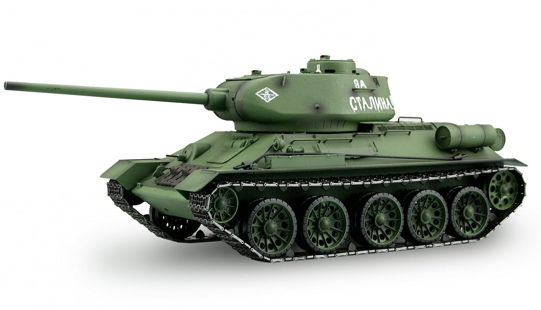 Amewi T-34/85 - Funkgesteuerter (RC) Panzer - Elektromotor - 1:16 - Montagesatz - Grün - 2,4 GHz