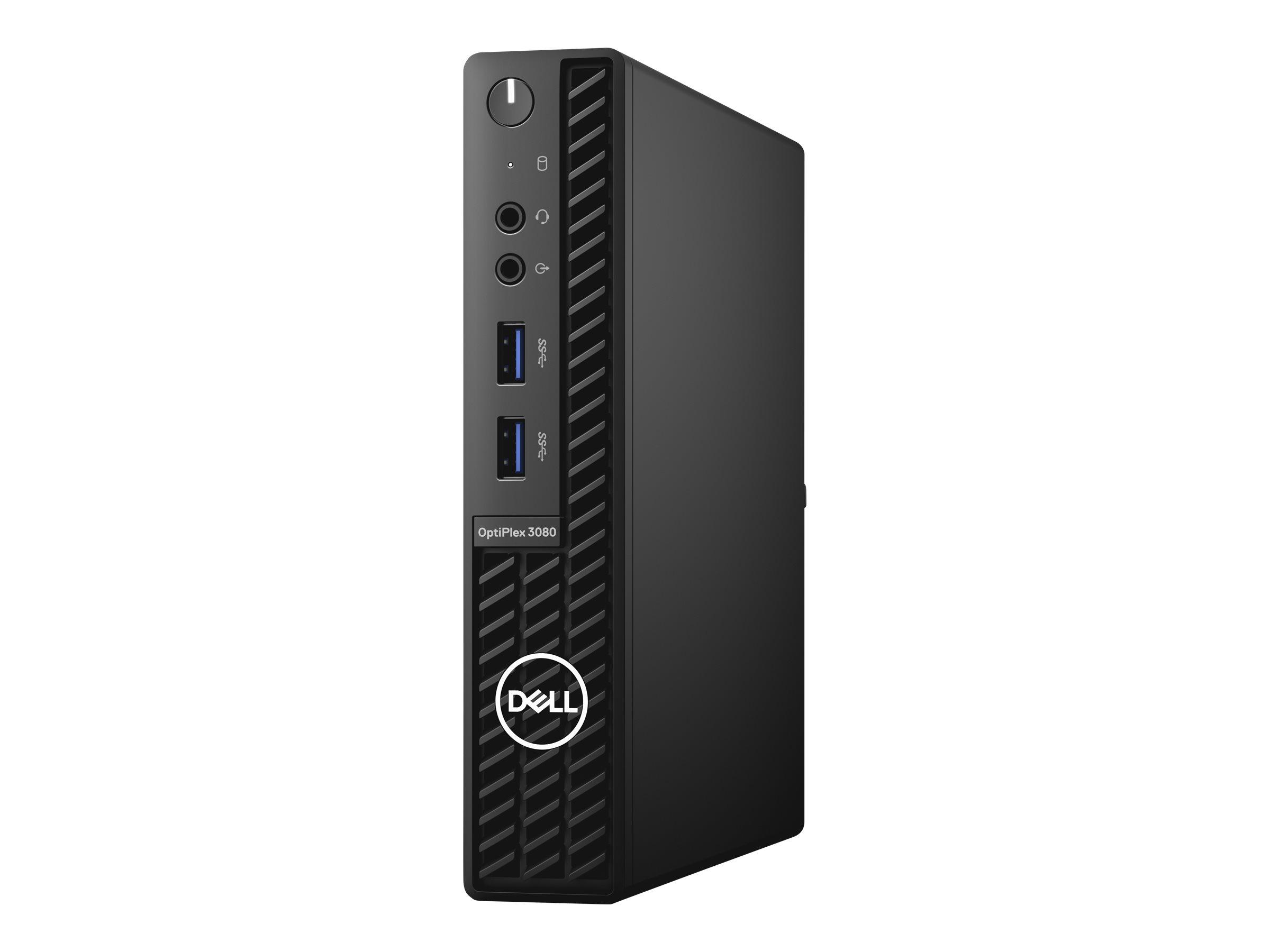 Dell OptiPlex 3080 - Micro - Core i3 10100T / 3 GHz - RAM 4 GB - SSD 128 GB - UHD Graphics 630 - GigE - WLAN: 802.11a/b/g/n/ac, Bluetooth 4.2 - Win 10 Pro 64-Bit - Monitor: keiner - BTS - mit 1 Year Basic Onsite (AT, DE - 3 Years)