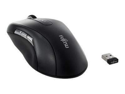 Fujitsu WI960 - Maus - Für Rechtshänder - optisch - 10 Tasten - kabellos - 2.4 GHz - kabelloser Empfänger (USB)