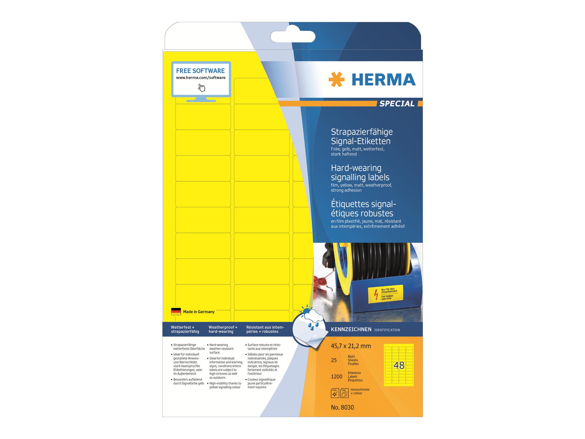 HERMA Special - Matt - selbstklebend - Gelb - 21.2 x 45.7 mm 1200 Stck. (25 Bogen x 48)