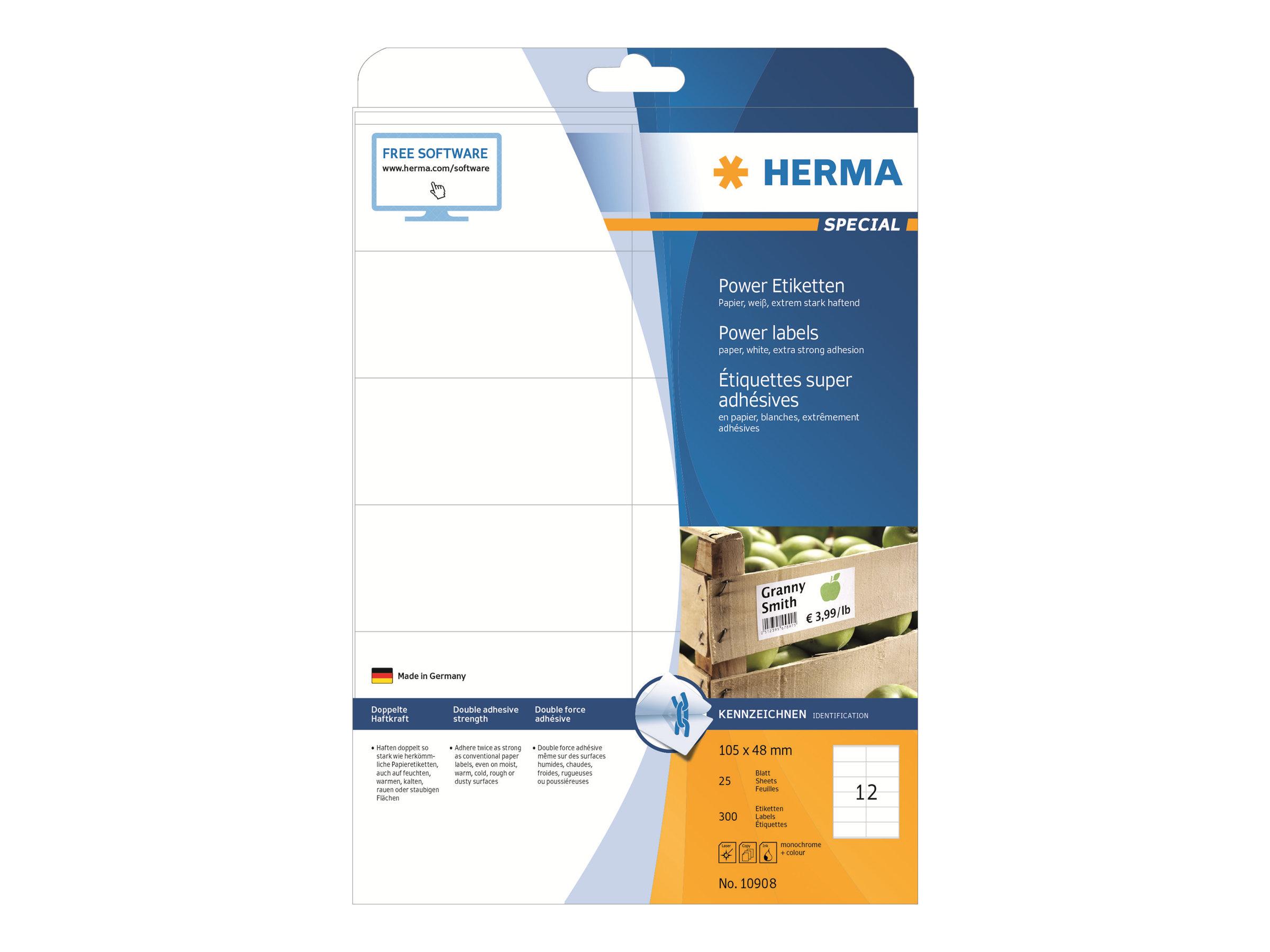 HERMA Special - Papier - matt - extra stark selbstklebend - weiß - 105 x 48 mm 300 Etikett(en) (25 Bogen x 12)