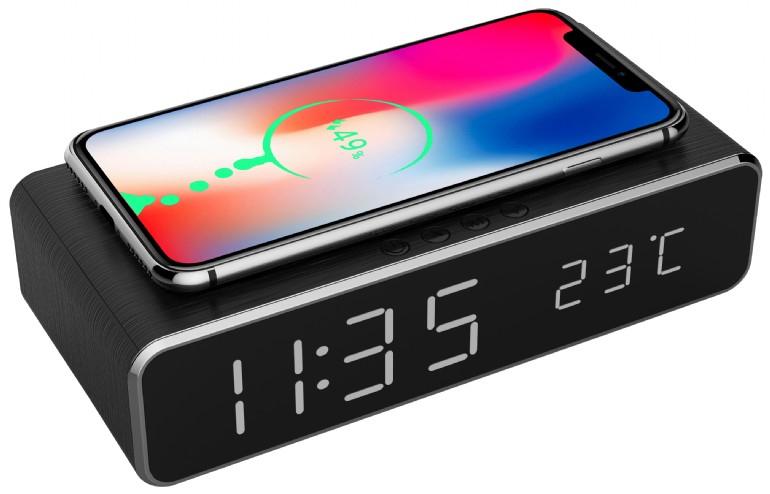 Gembird DAC-WPC-01 - Digitaler Wecker - Rechteck - Schwarz - Aluminium - 12/24 h - iPhone X/XS/XR - iPhone 8 - Galaxy S8/S7/S6