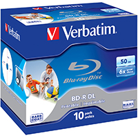 Verbatim BD-R DL 50GB 6x Wide Printable 10 Pack Jewel Case No ID Brand BD-R 50GB 10Stück(e)
