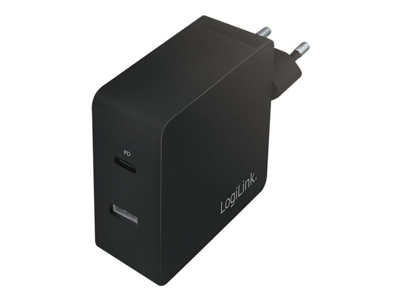 LogiLink USB-C 2-Port Wall Charger - Netzteil - 65 Watt - 3.25 A - 2 Ausgabeanschlussstellen (USB, USB-C)