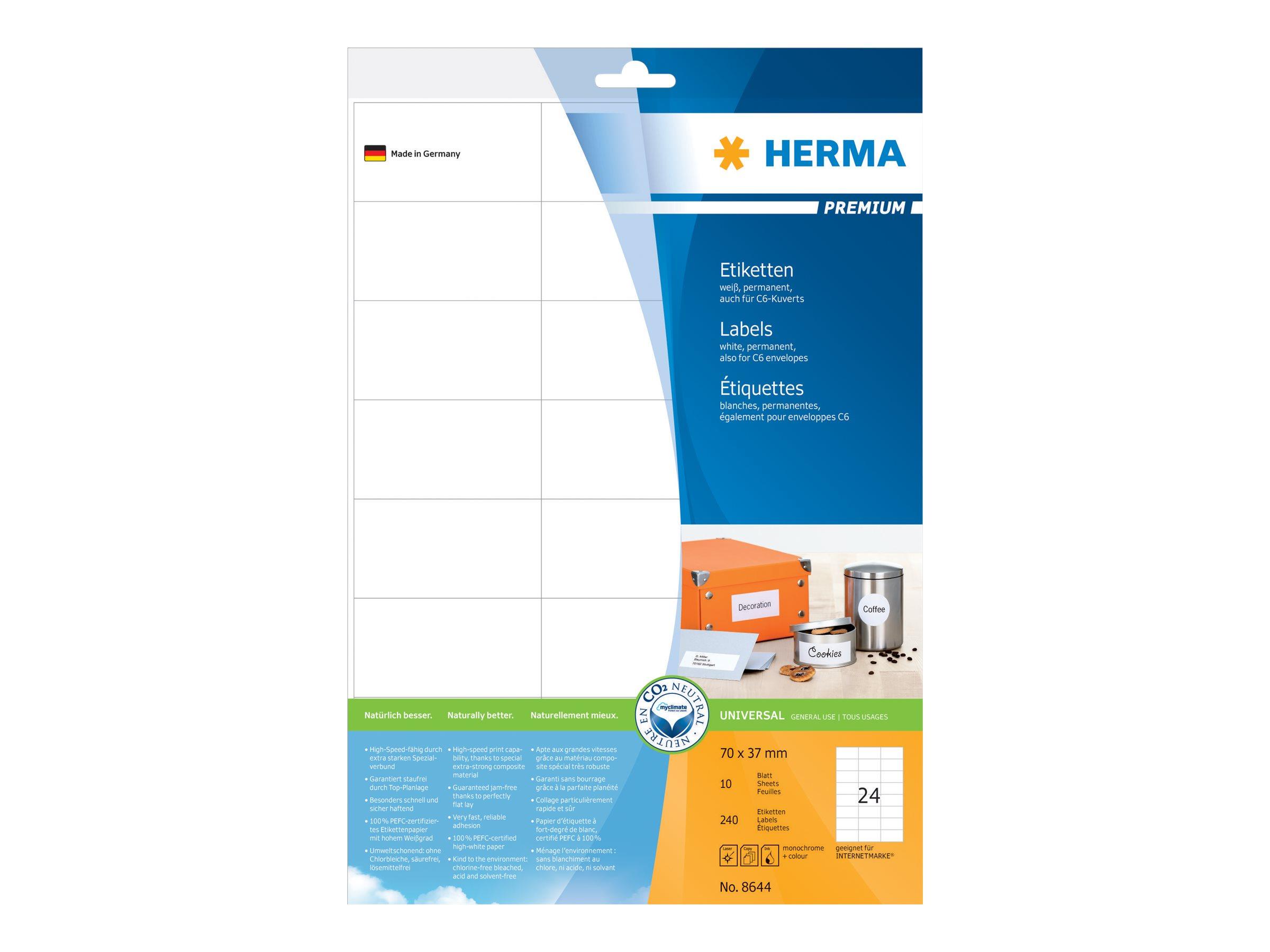 HERMA Premium - Papier - matt - permanent selbstklebend - weiß - 70 x 37 mm 240 Etikett(en) (10 Bogen x 24)