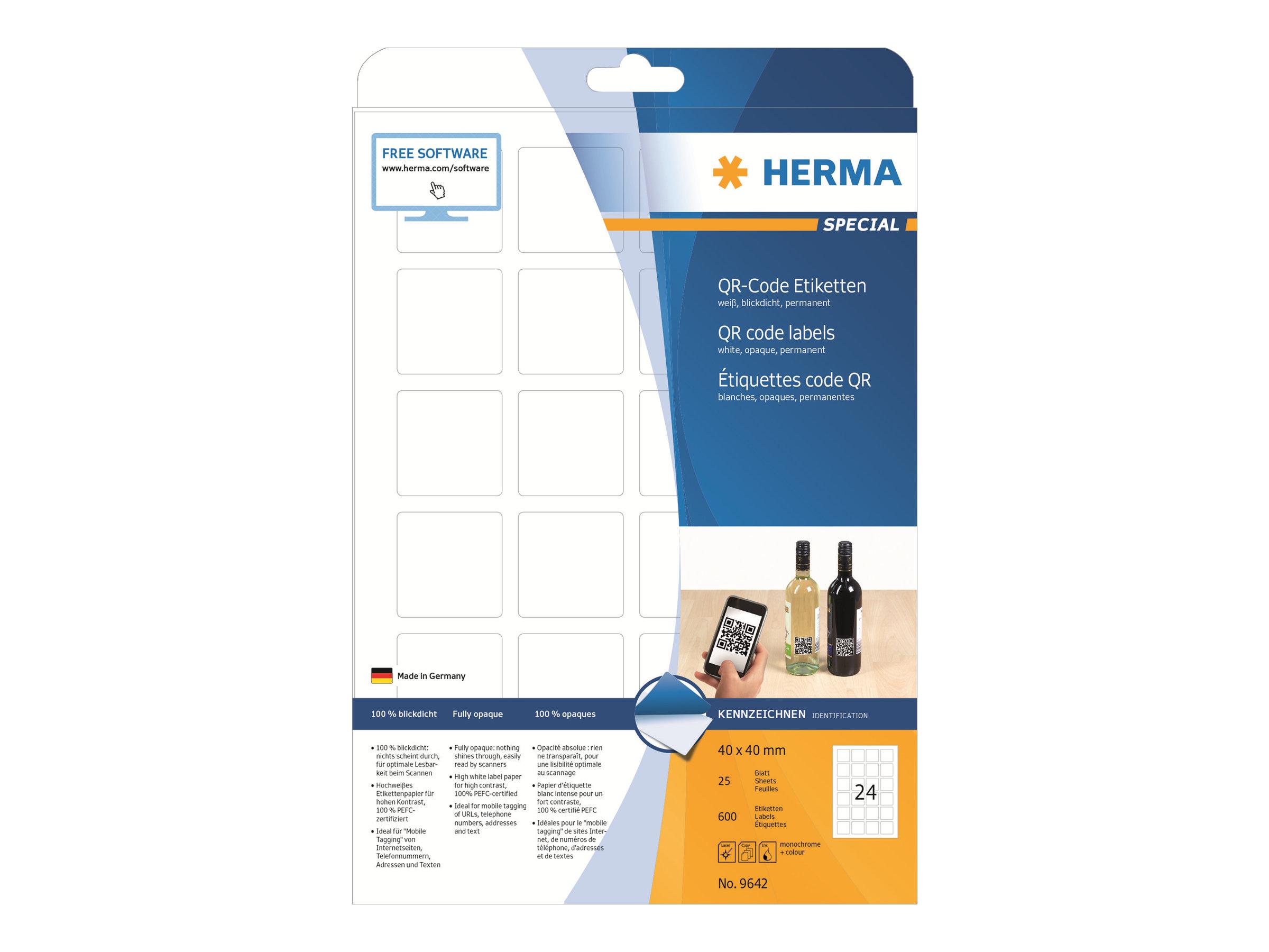 HERMA Special - Papier - matt - permanent selbstklebend - weiß - 40 x 40 mm 600 Etikett(en) (25 Bogen x 24)