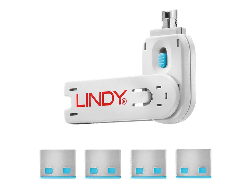 Lindy USB Port Blocker - USB-Portblocker - Blau (Packung mit 4)