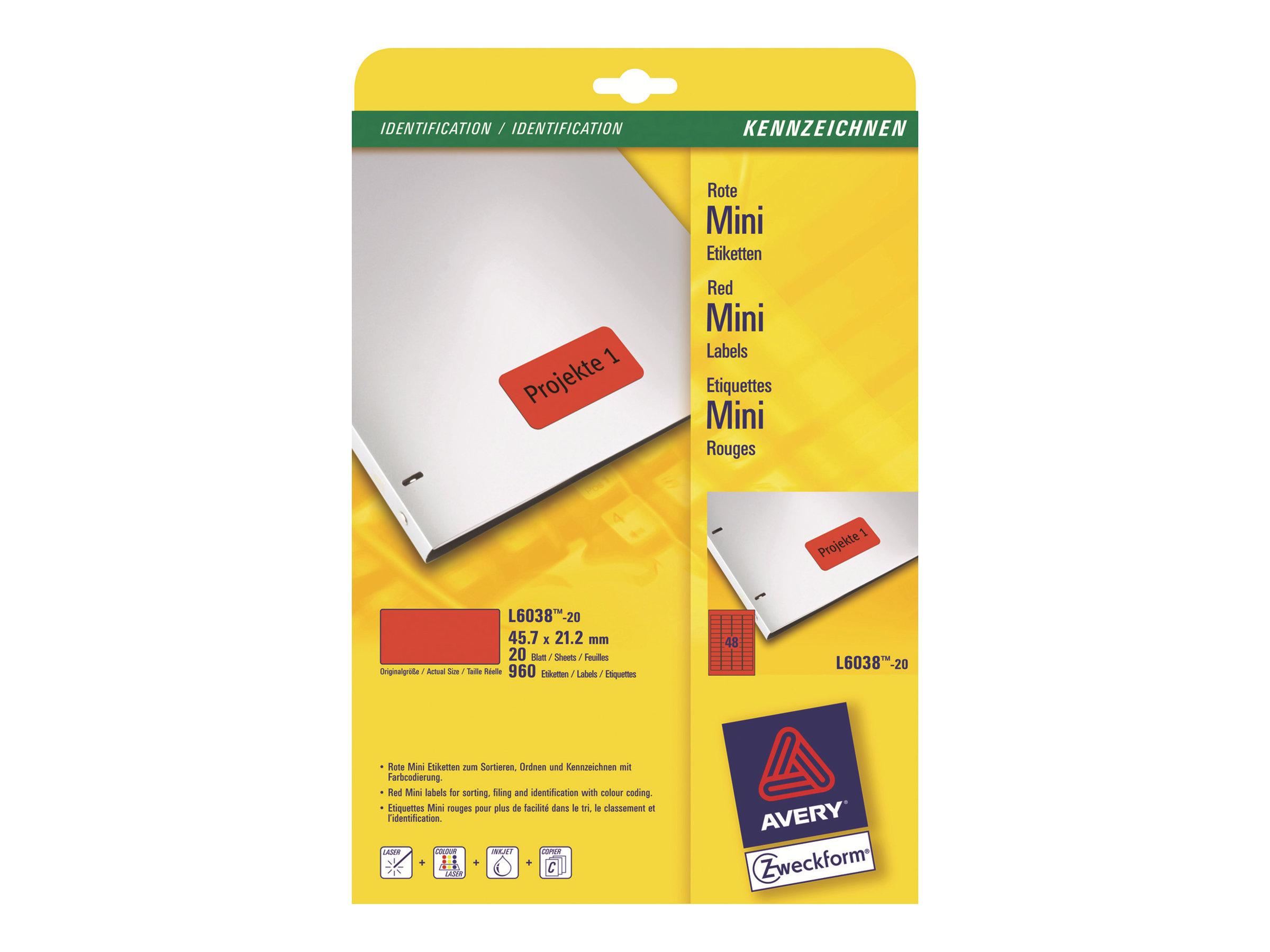Avery Zweckform L6038 - Rot - 21.2 x 45.7 mm 960 Stck. (20 Bogen x 48) Etiketten