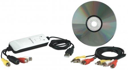 MANHATTAN USB 2.0 Audio / Video Grabber Aufnahme Bearbeiten und Konvertieren von Audio und Video auf Knopfdruck