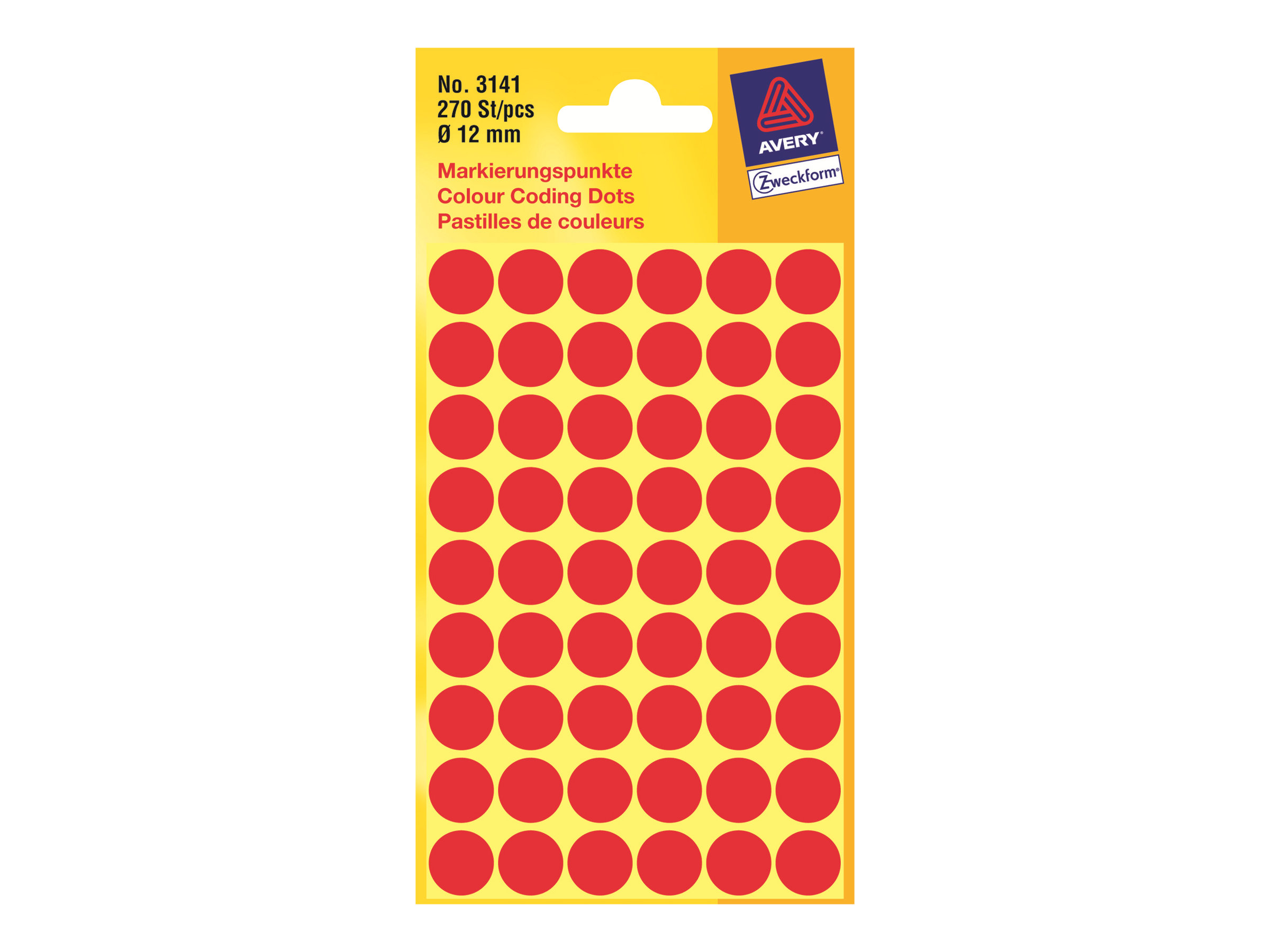 Avery Zweckform 3141 - Permanenter Klebstoff - Rot - 12 mm rund 270 Etikett(en) (5 Bogen x 54)