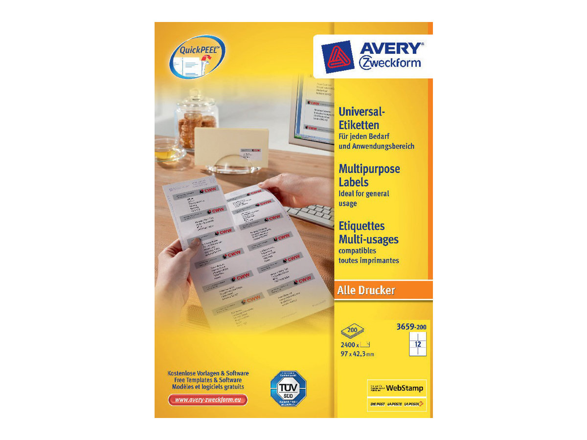 Avery Zweckform 3659 - Weiß - 42.3 x 97 mm 2400 Etikett(en) (200 Bogen x 12)