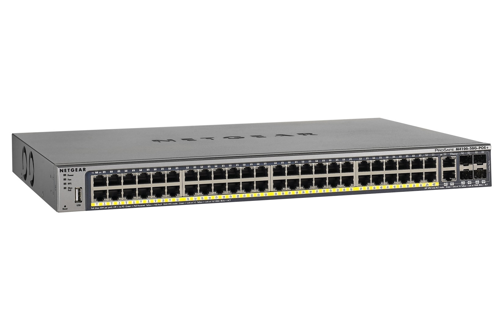 Netgear M4100-50G-POE+ gemanaged L2+ Gigabit Ethernet (10/100/1000) Energie Über Ethernet (PoE) Unterstützung Grau