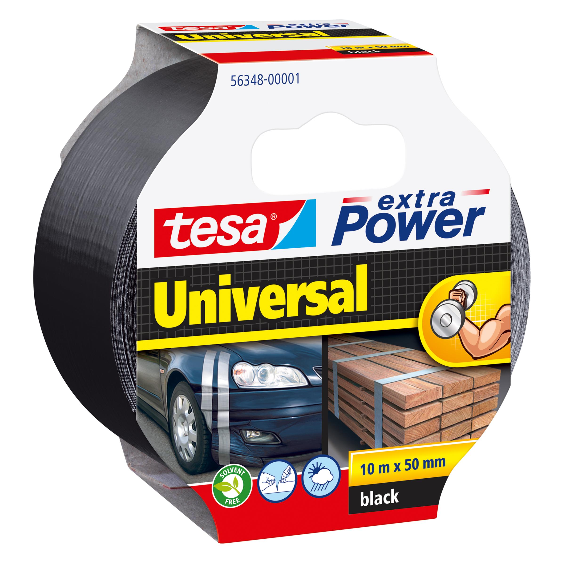 Tesa extra Power Universal - Schwarz - Befestigung - Handwerk - Kennzeichnung - Reparatur - Metall - Holz - 10 m - 50 mm