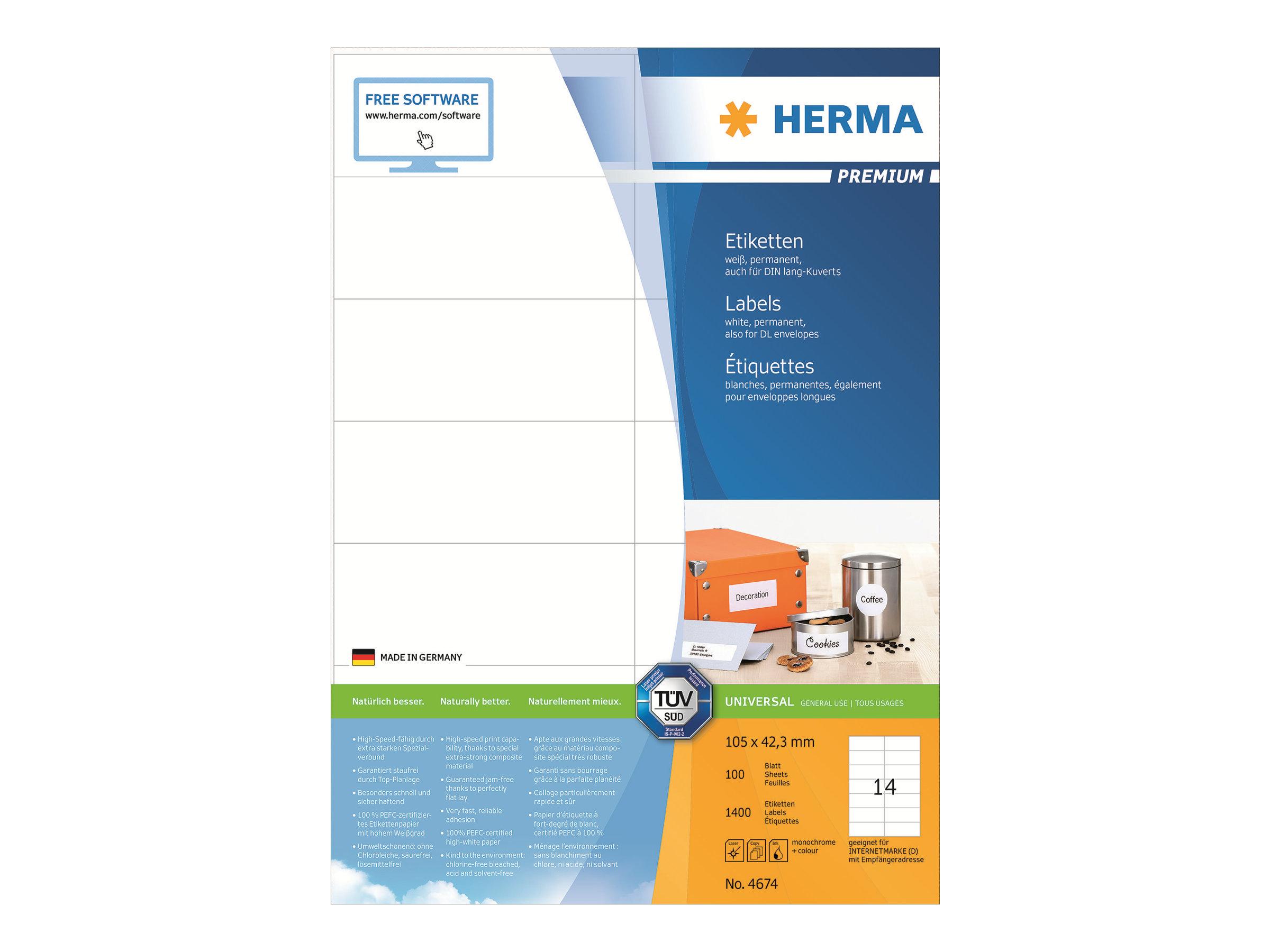 HERMA Premium - Papier - matt - permanent selbstklebend - weiß - 105 x 42.3 mm 1400 Etikett(en) (100 Bogen x 14)