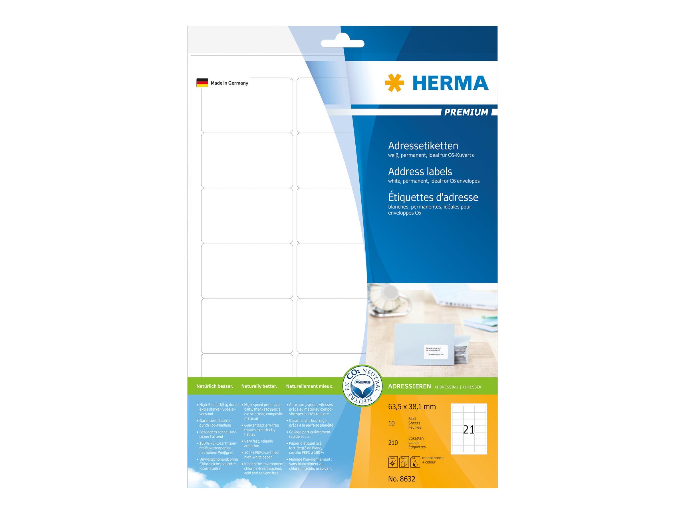 HERMA Premium - Papier - matt - permanent selbstklebend - weiß - 63.5 x 38.1 mm 210 Etikett(en) (10 Bogen x 21)