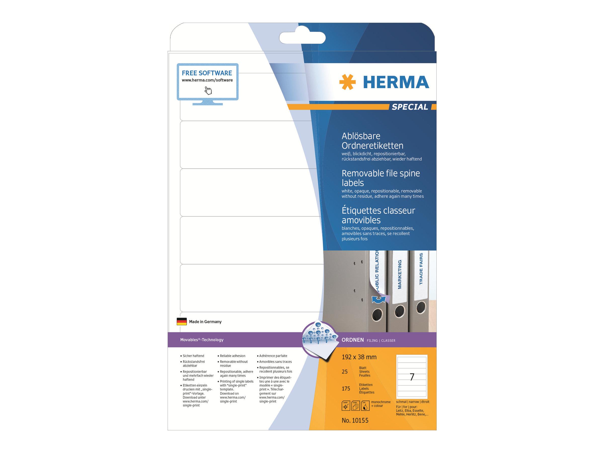 HERMA Special - Papier - matt - selbstklebend, entfernbarer Klebstoff - weiß - 192 x 38 mm 175 Etikett(en) (25 Bogen x 7)