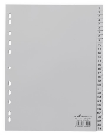 Durable 652310 - Numerischer Registerindex - Polypropylen (PP) - Grau - Porträt - A4 portrait full size - 230 mm