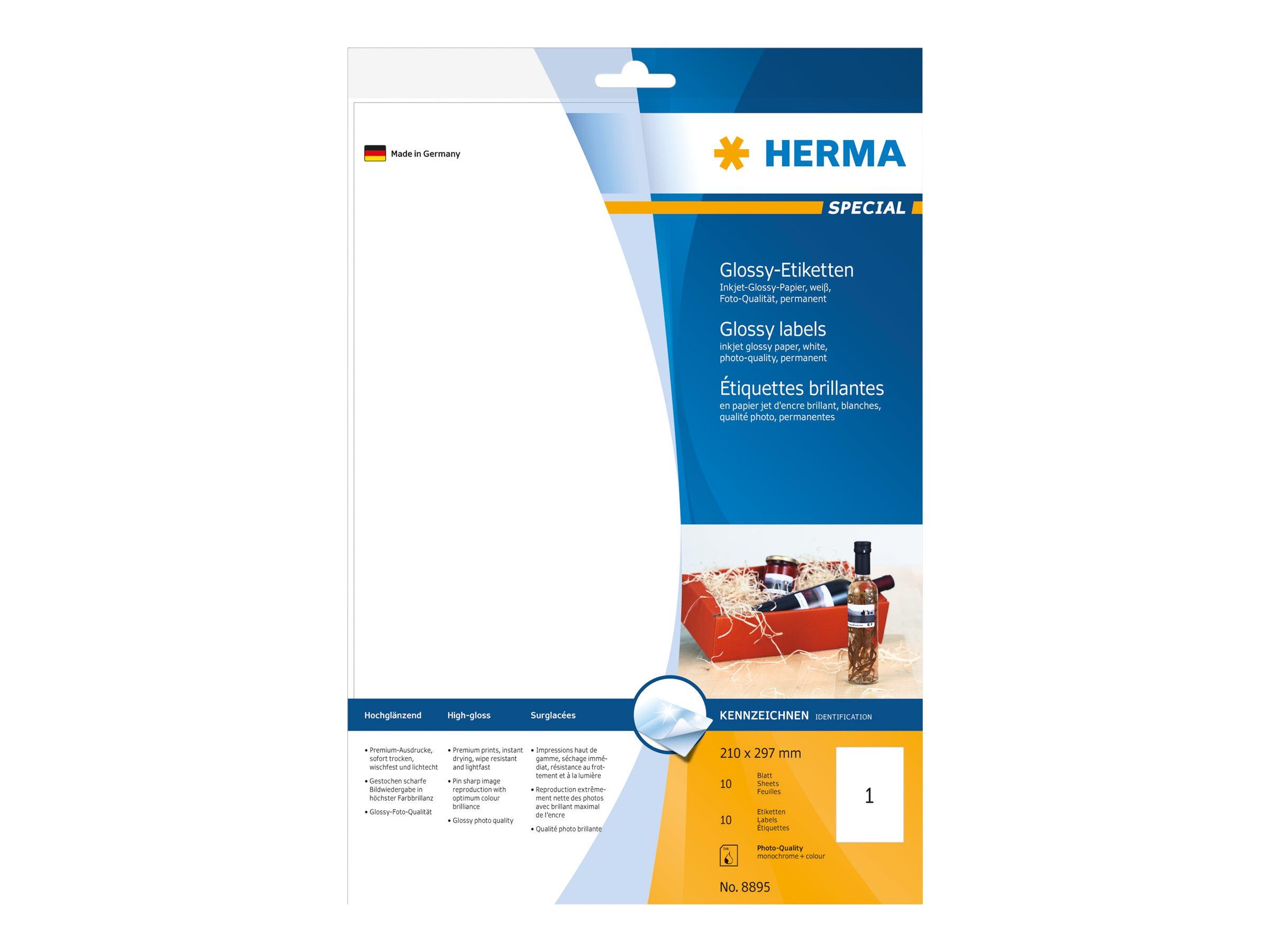 HERMA Special - Papier - glänzend - permanent selbstklebend - weiß - A4 (210 x 297 mm)