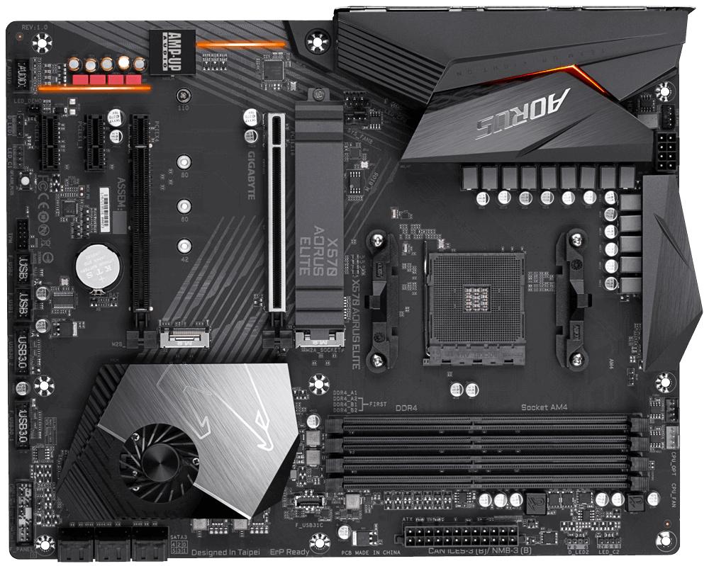 Gigabyte X570 AORUS ELITE (rev. 1.0) - AMD - Buchse AM4 - AMD Ryzen - DDR4-SDRAM - DIMM - 2133,2400,2667,2933,3200,3300,3333,3400,3466,3600,3733,3800,3866,4000 MHz