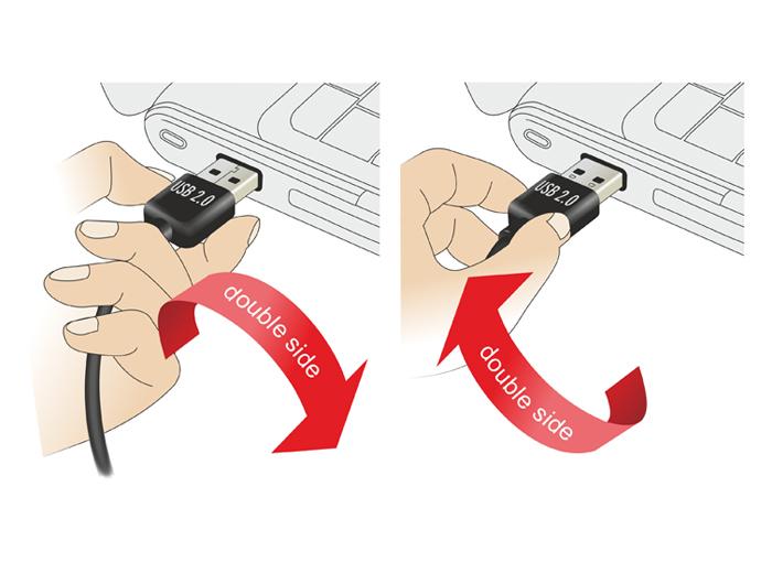 Delock USB-Adapter - USB (W) bis USB (M) - 90° Stecker