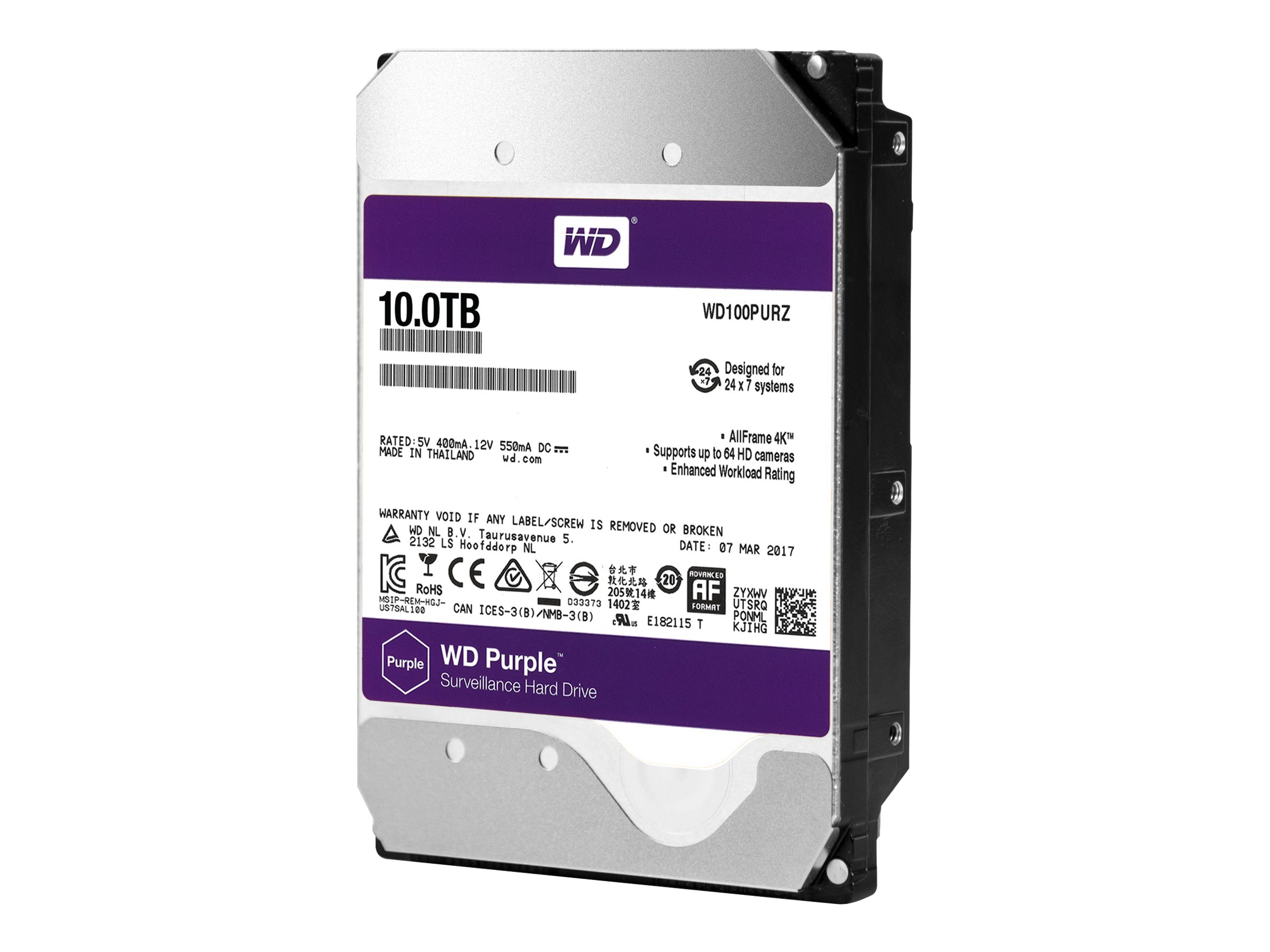 WD Purple Surveillance Hard Drive WD100PURZ