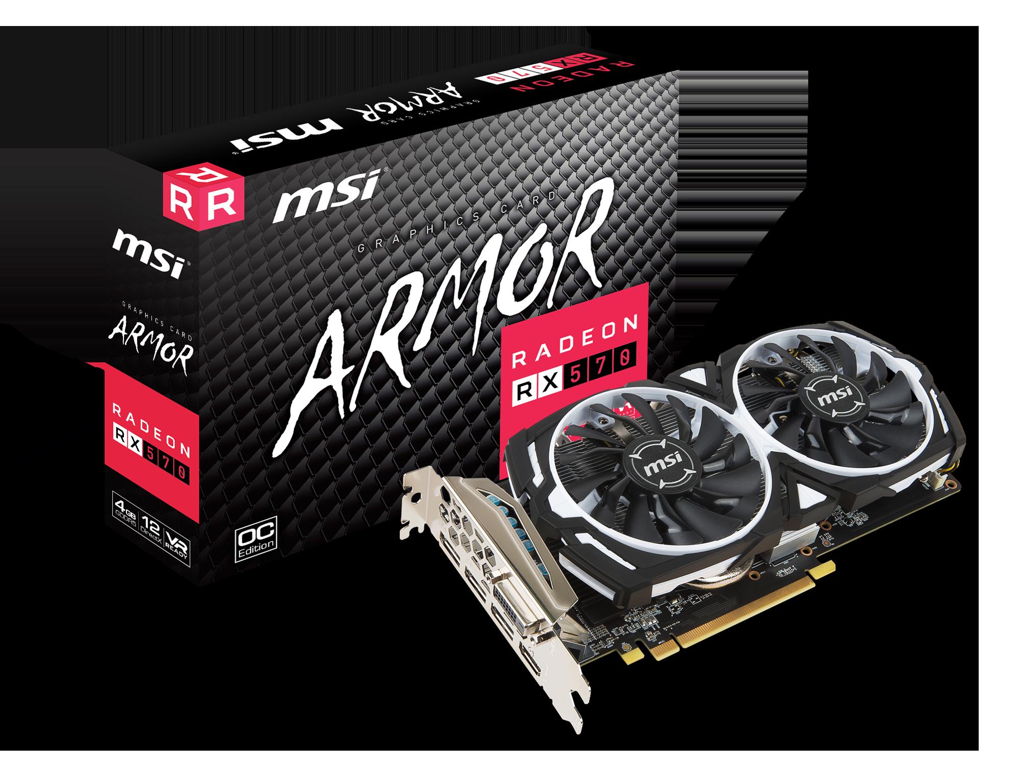MSI Radeon RX 570 Armor 4G OC 4096MB PCI-E DVI HDMI DP - Grafikkarte - PCI - 1x DVI, 1x HDMI 2.0b, 3x DisplayPort 1.4