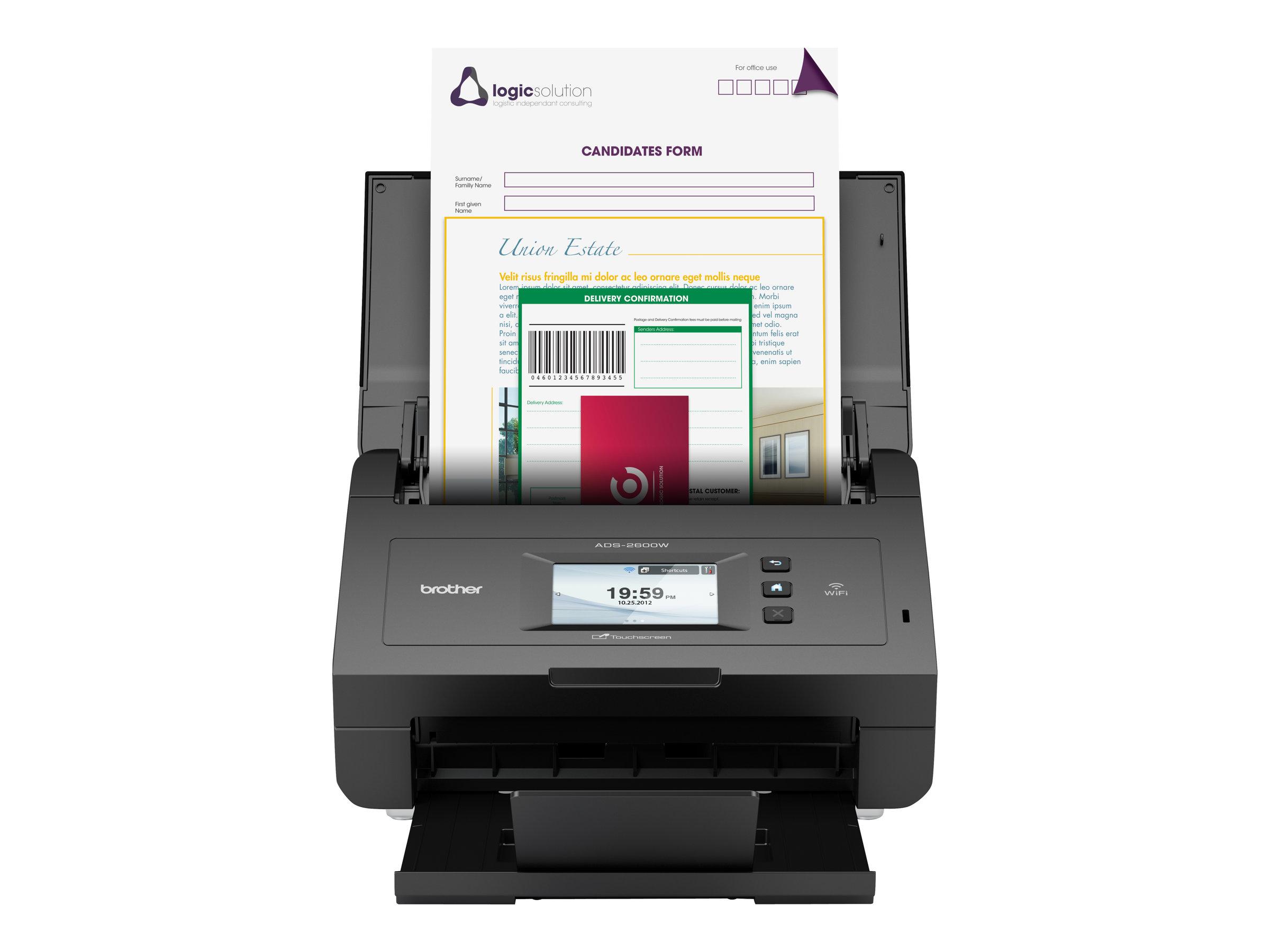 Brother ADS-2600We - Dokumentenscanner - Duplex - 216 x 863 mm - 600 dpi x 600 dpi - bis zu 24 Seiten/Min. (einfarbig)