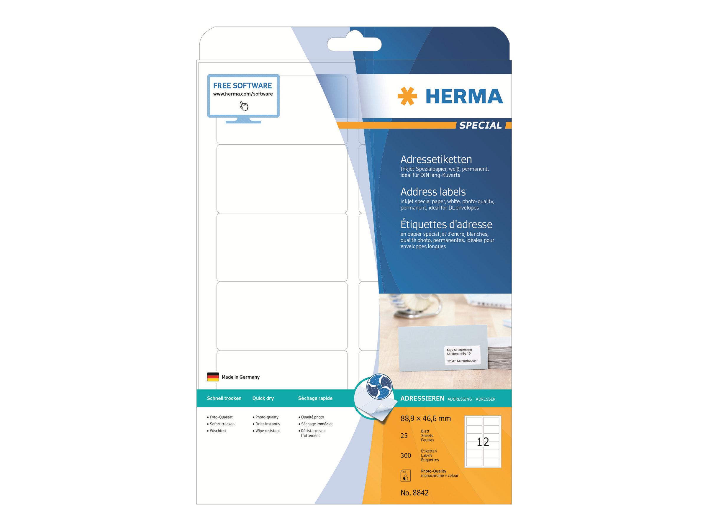 HERMA Special - Papier - matt - permanent selbstklebend - beschichtet - weiß - 88.9 x 46.6 mm - 90 g/m² - 300 Etikett(en) (25 Bogen x 12)