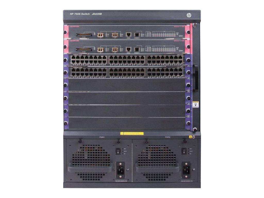 HP 7506 Switch w/96p GT 2p 10G 384Gbps MPU (JG508A)