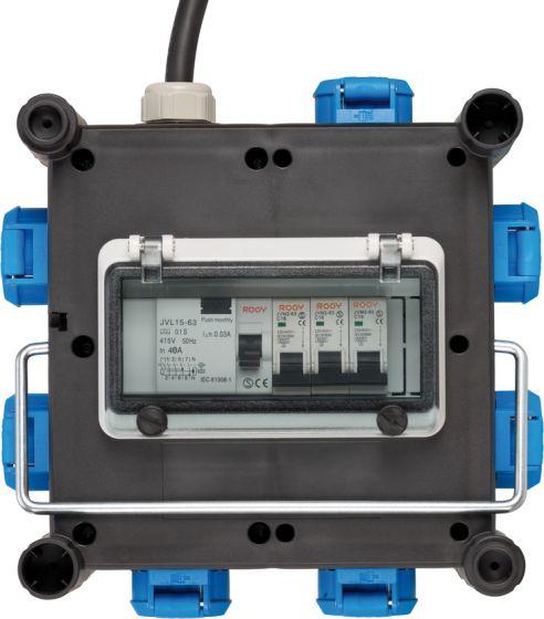 Brennenstuhl 1153690600 - 2 m - 7 AC-Ausgänge - Outdoor - Kunststoff - Kautschuk - Schwarz - Blau - 400 V