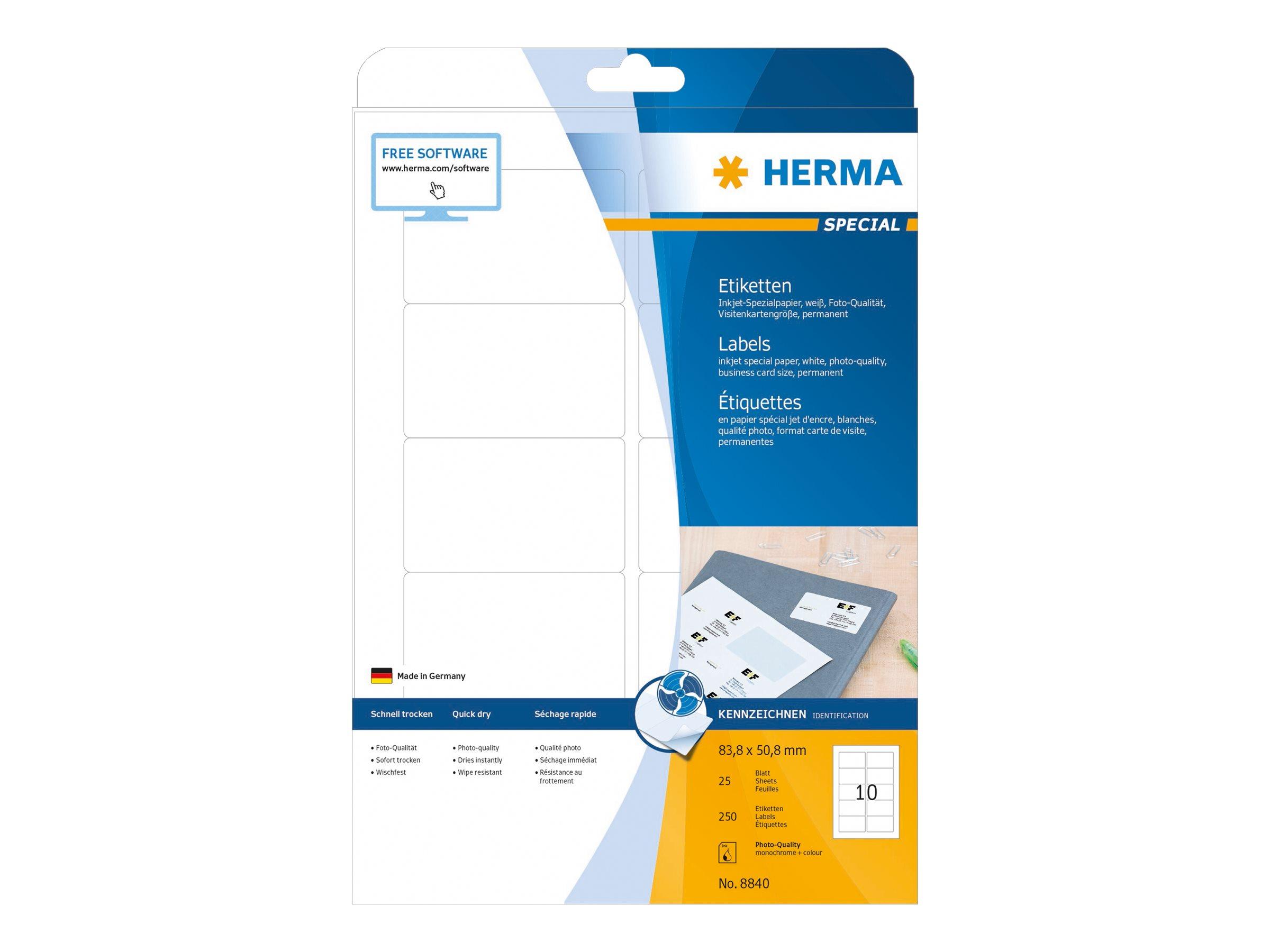 HERMA Special - Papier - matt - permanent selbstklebend - beschichtet - weiß - 83.8 x 50.8 mm - 90 g/m² - 250 Etikett(en) (25 Bogen x 10)