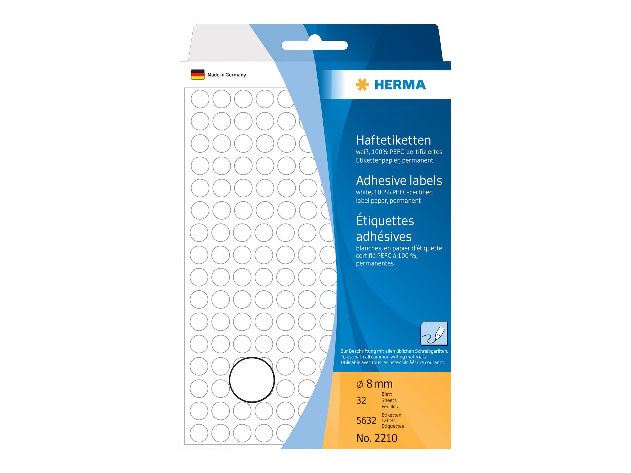 HERMA Weiß - 8 mm rund 5632 Etikett(en) (32 Bogen x 176)