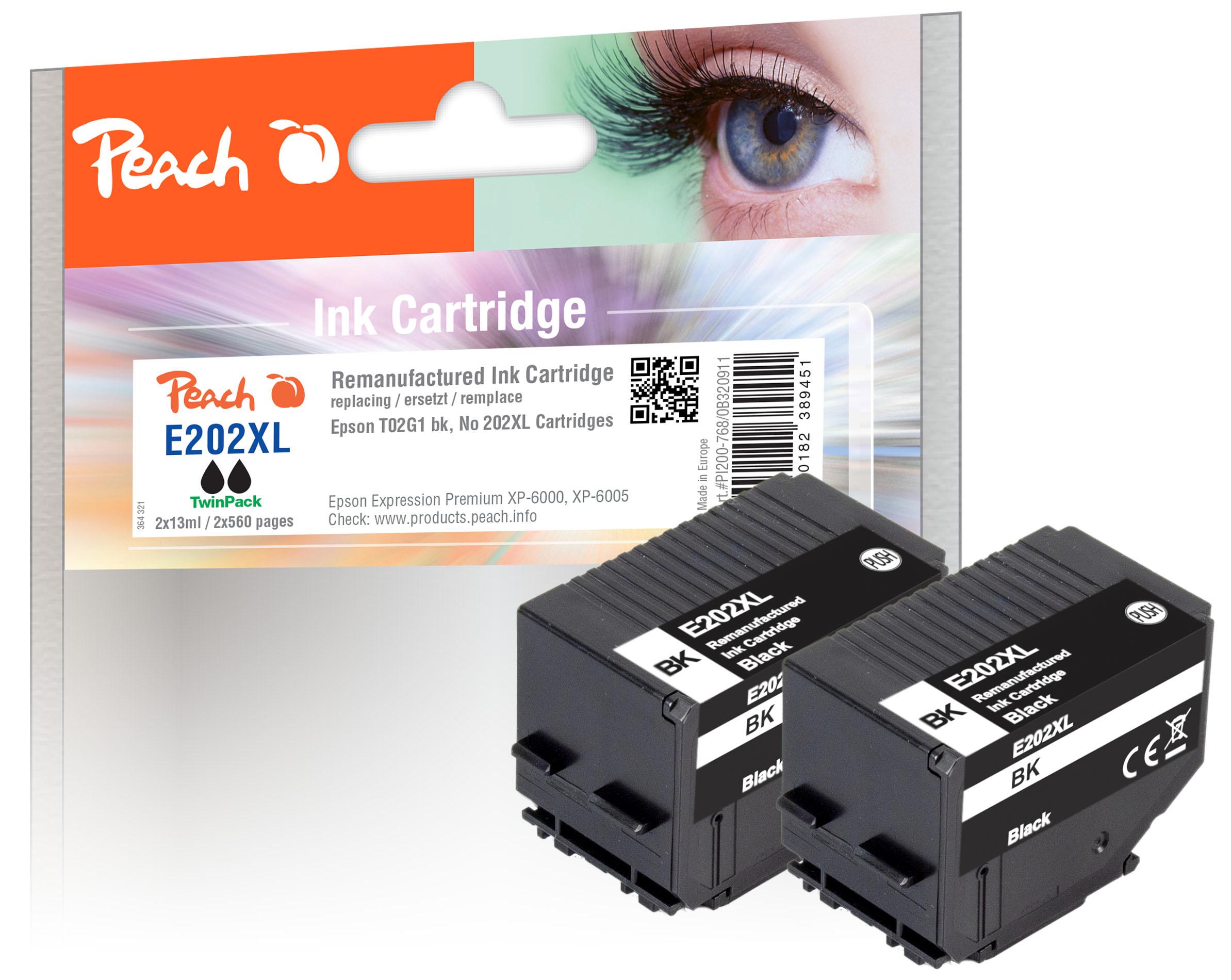Peach PI200-768 - Kompatibel - Schwarz - Epson - Kombi-Packung - Expression Premium XP-6000 - Expression Premium XP-6005 - Expression Premium XP-6100 - Expression... - 2 Stück(e)