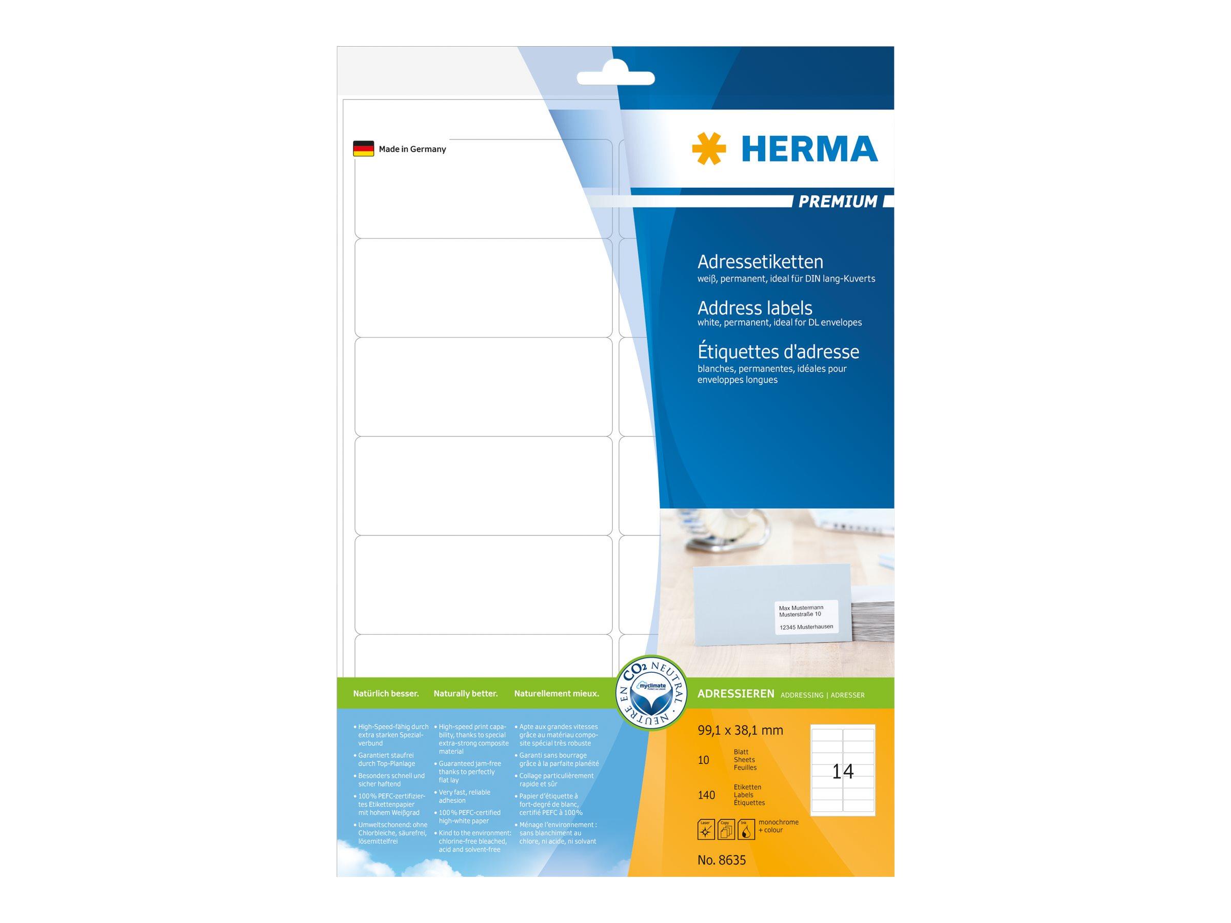 HERMA Premium - Papier - matt - permanent selbstklebend - weiß - 99.1 x 38.1 mm 140 Etikett(en) (10 Bogen x 14)