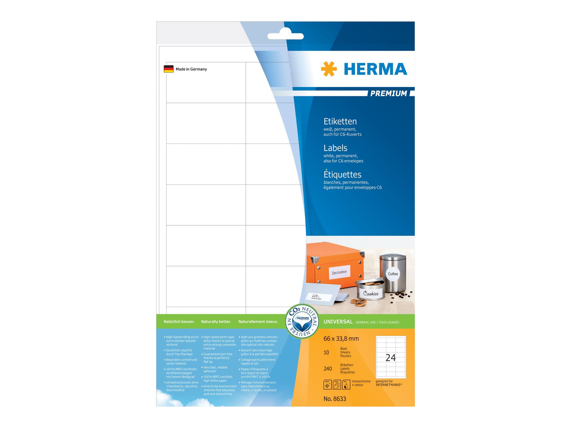 HERMA Etiketten Premium A4 weiß 66x33,8 mm Papier 240 St.