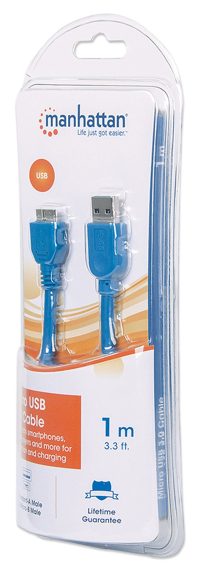 Manhattan USB-A to Micro-USB Cable, 1m, Male to Male, 5 Gbps (USB 3.2 Gen 1)